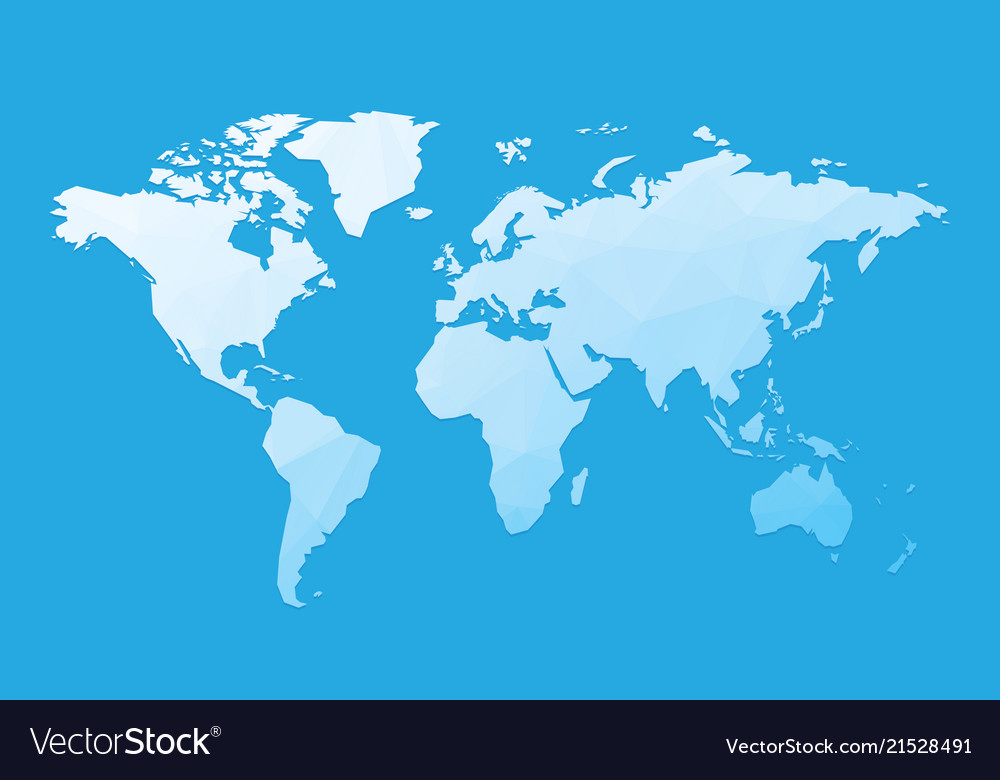 Blue Blank World Map Royalty Free Vector Image