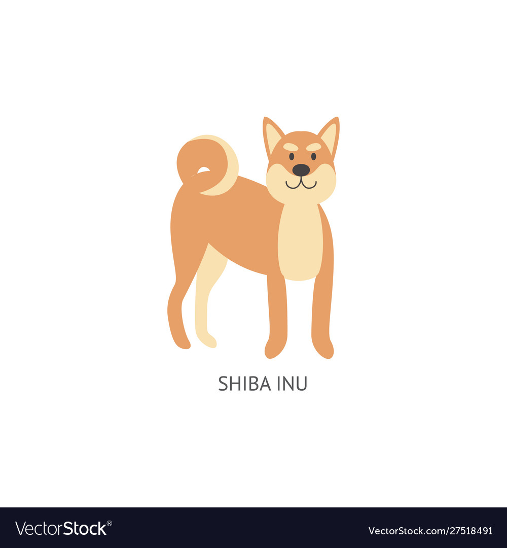 Card Dog Breeds With Shiba Inu Puppy Flat Vector Image