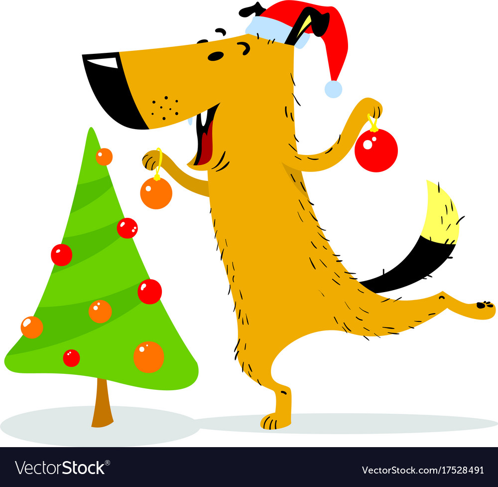 Christmas dog character a cheerful pet decorates