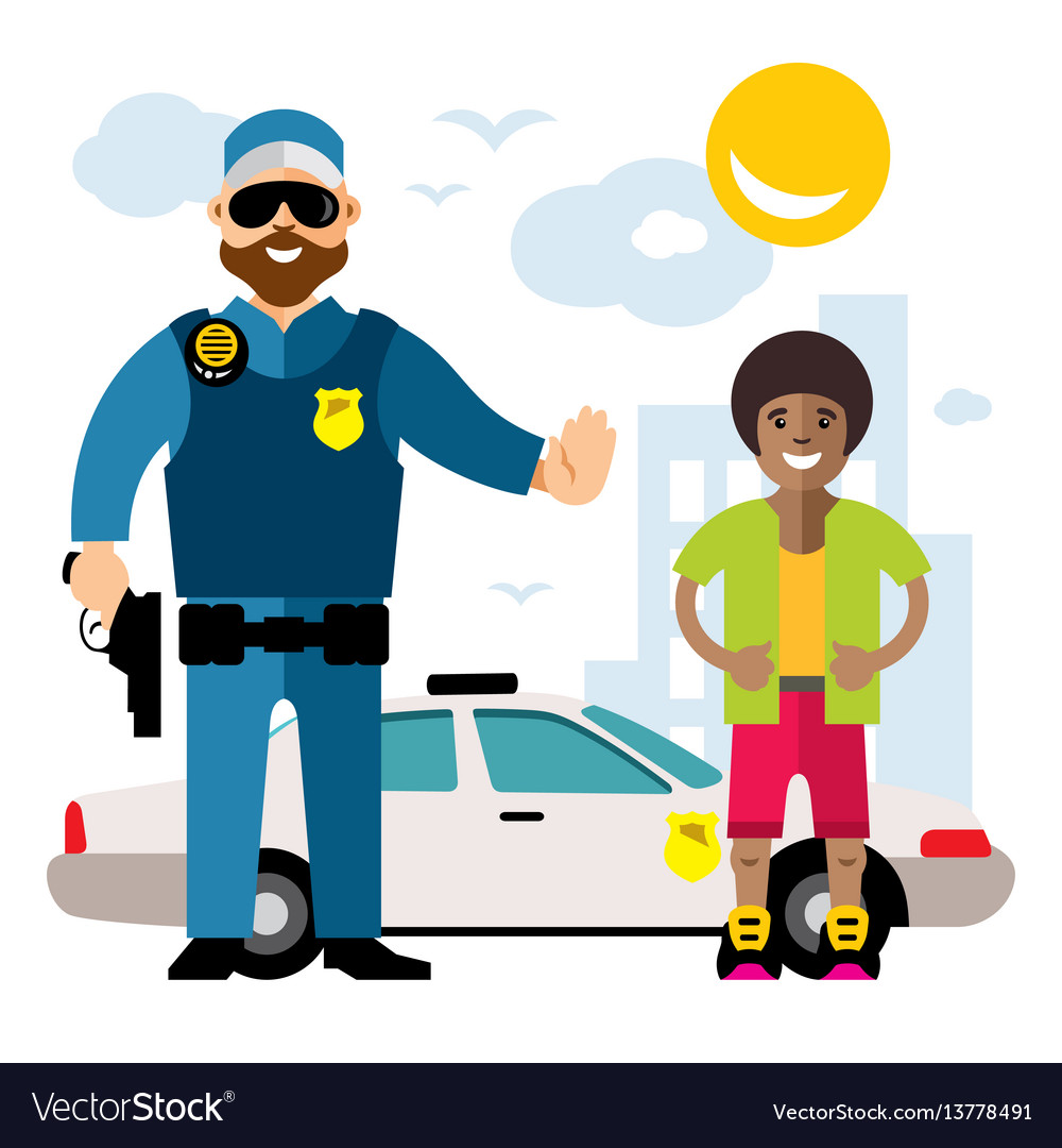City police law enforcement flat style
