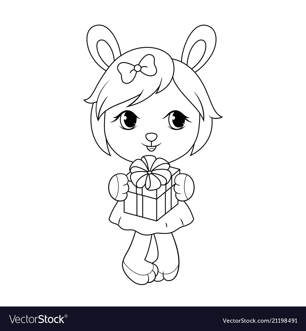 Cute barabit girl in dress holding gift box