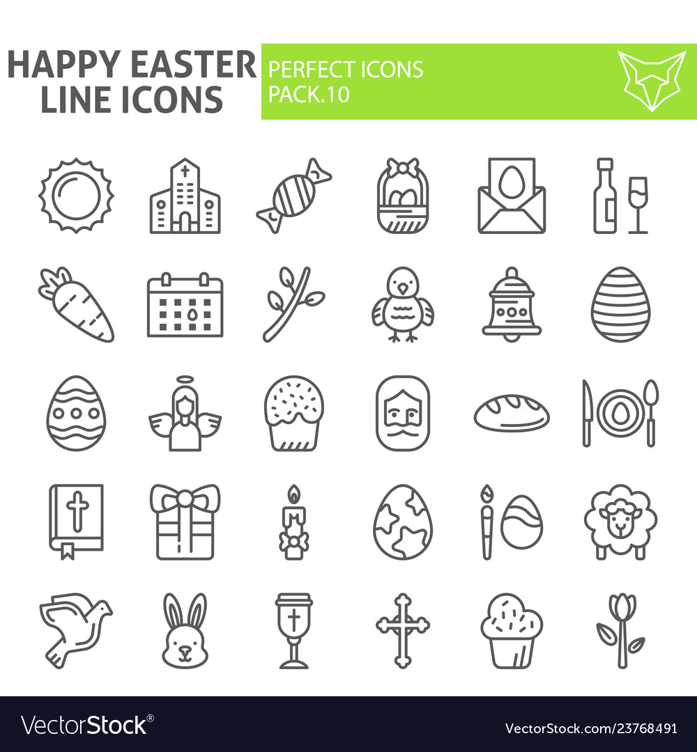 Happy easter line icon set holiday symbols