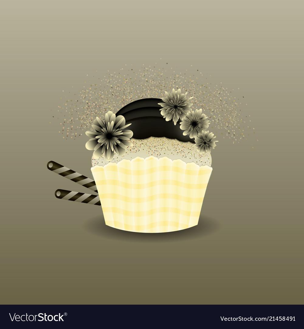 Modern muffin cupcake black cream