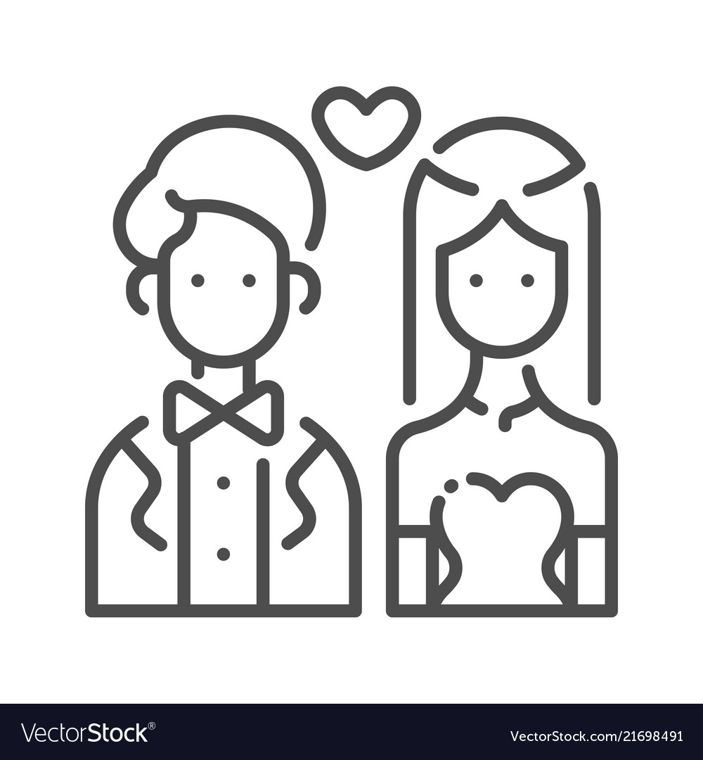 Outline Bride And Groom Vector Image