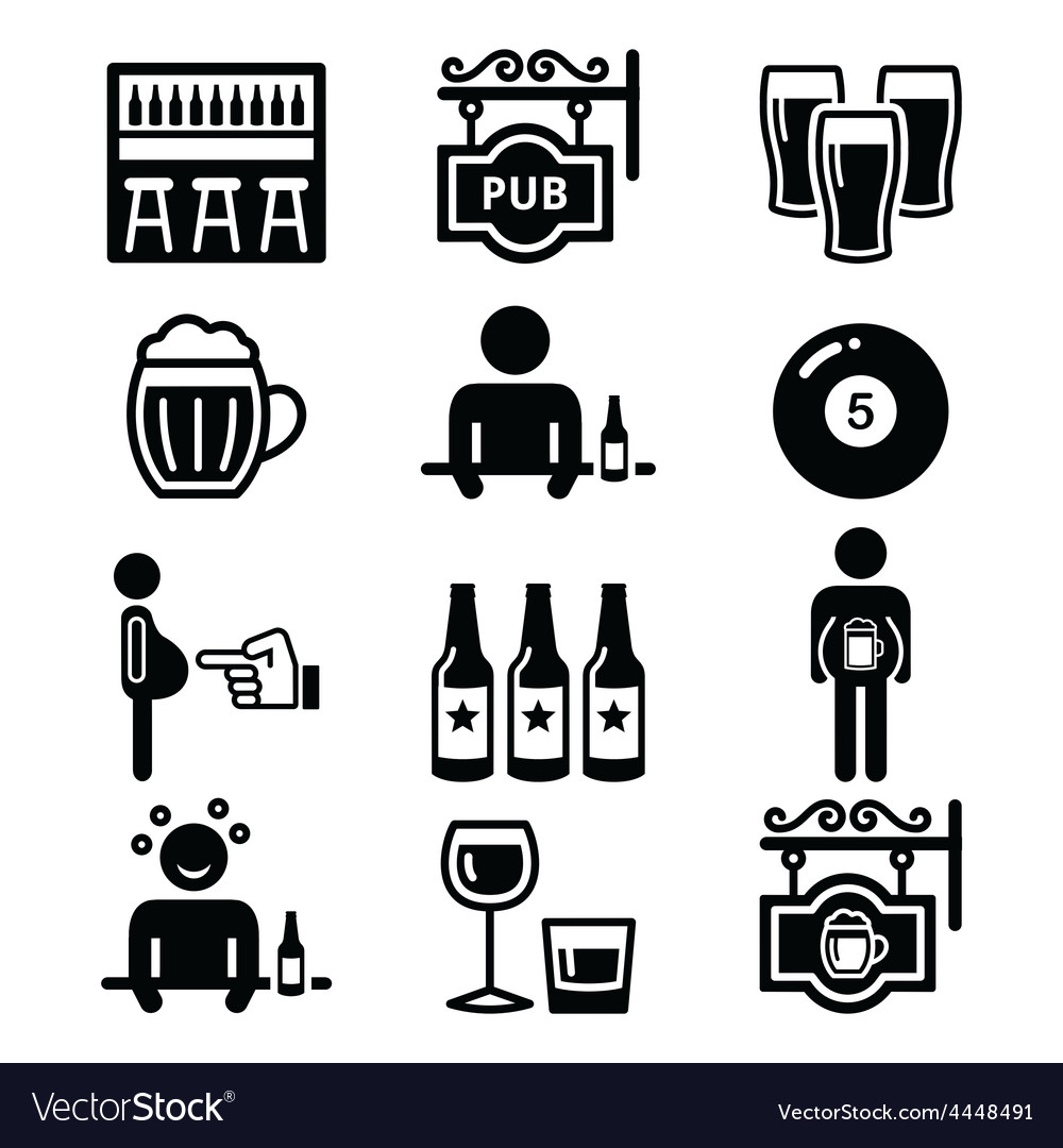 Pub drinking alcohol beer belly icons set vector image