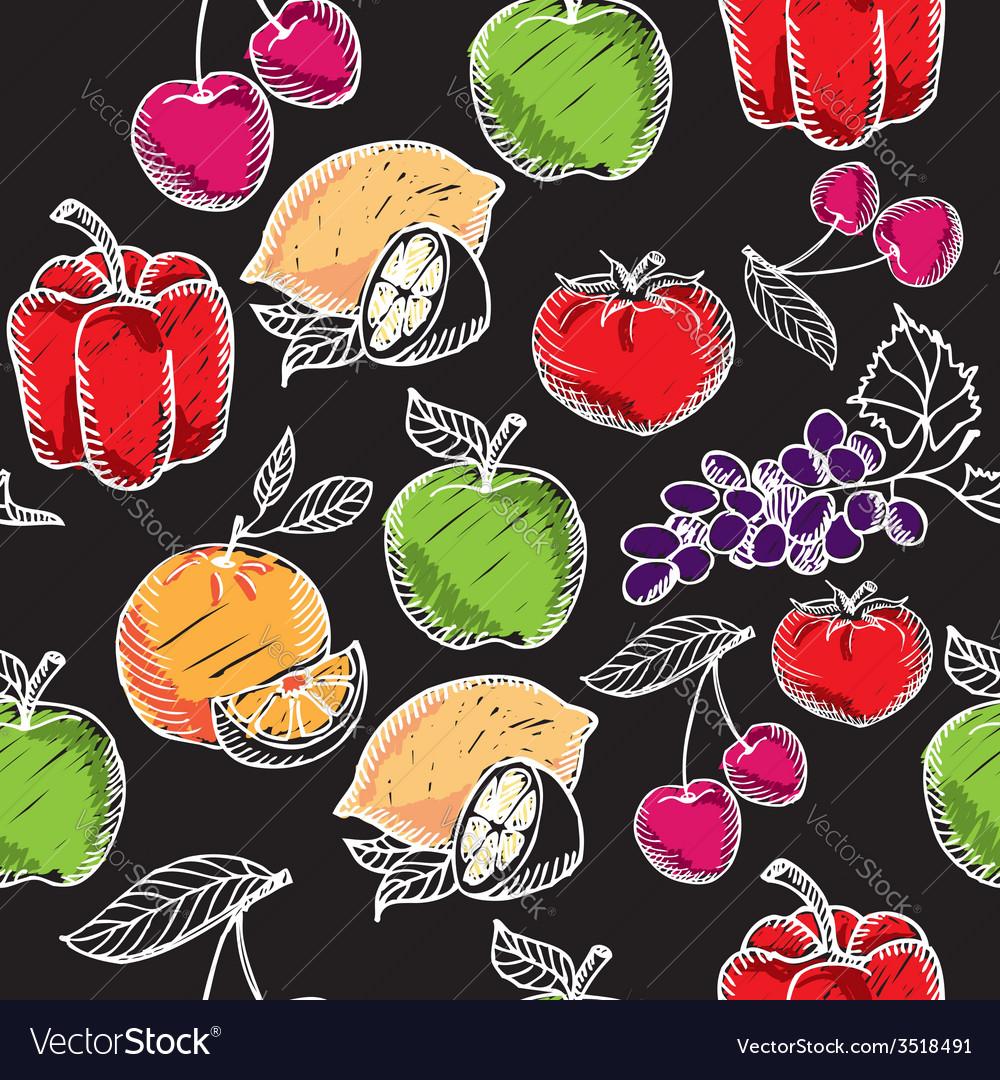 Seamless pattern fruitchalkboard