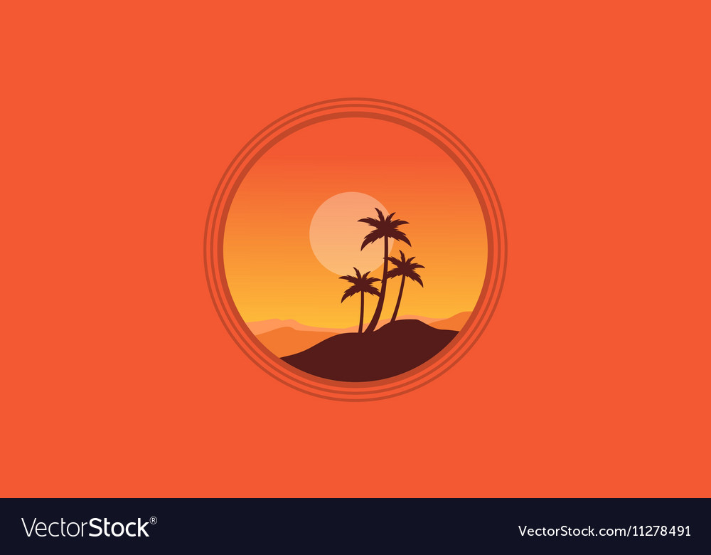 Silhouette of palm on orange backgrounds