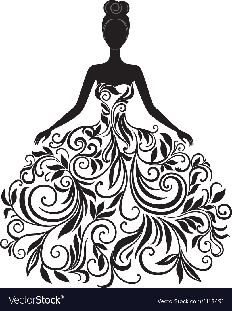 Silhouette of young woman in dress vector image