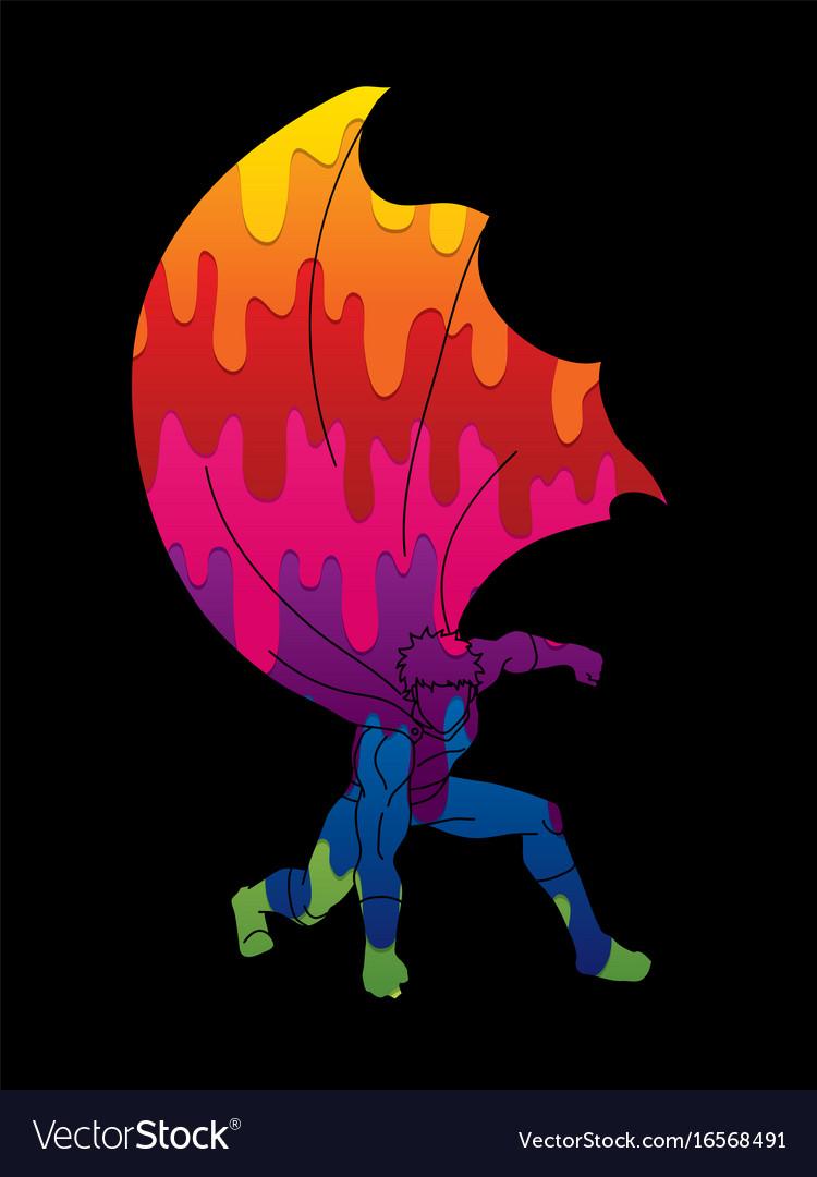 Strong man superhero landing action