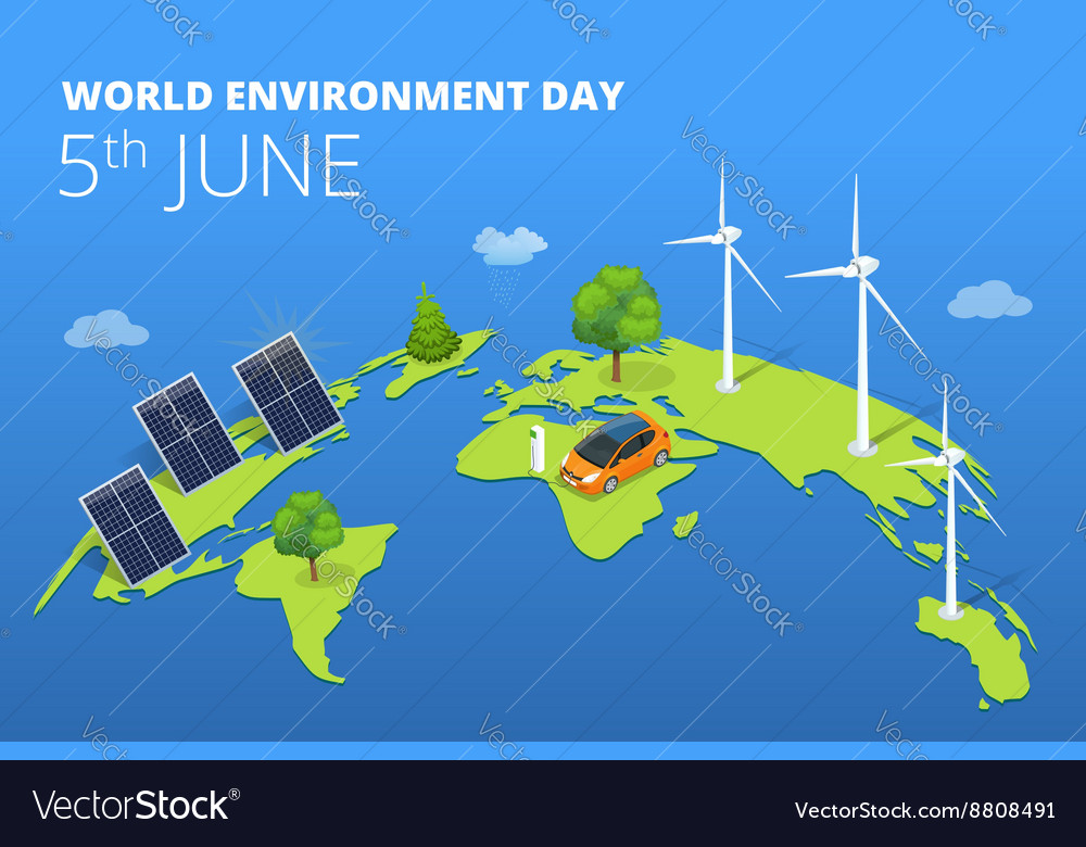 World environment day concept Saving nature and vector image