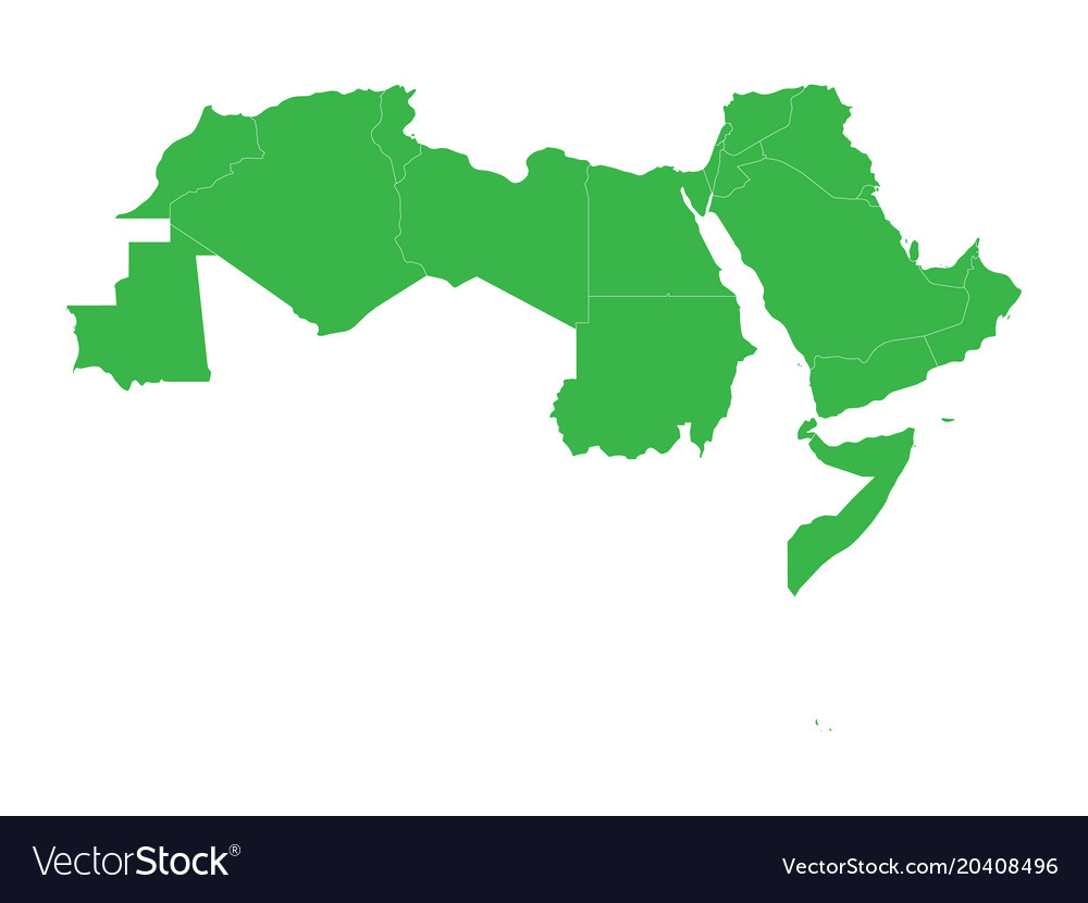 Arab world states blank political map of 22 Vector Image