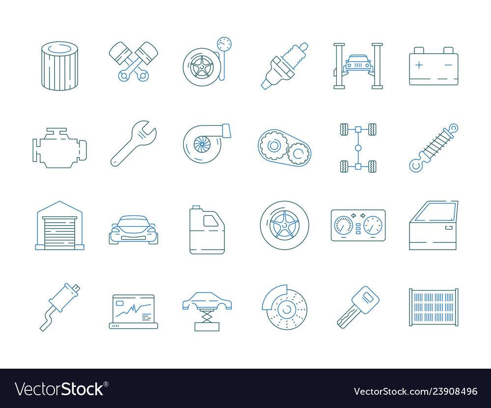 Car service symbols automotive tools parts car