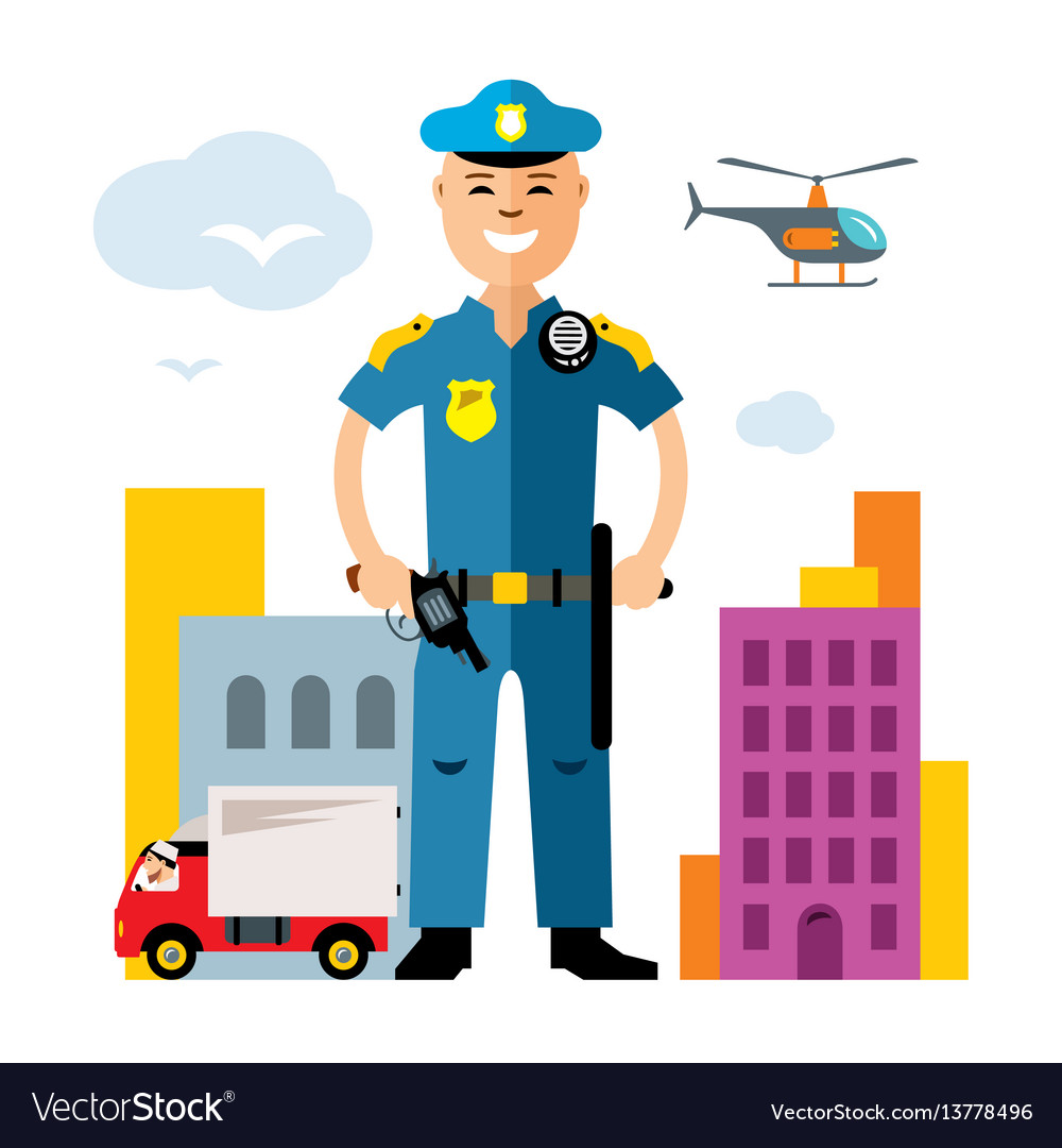 City police law enforcement flat style vector image
