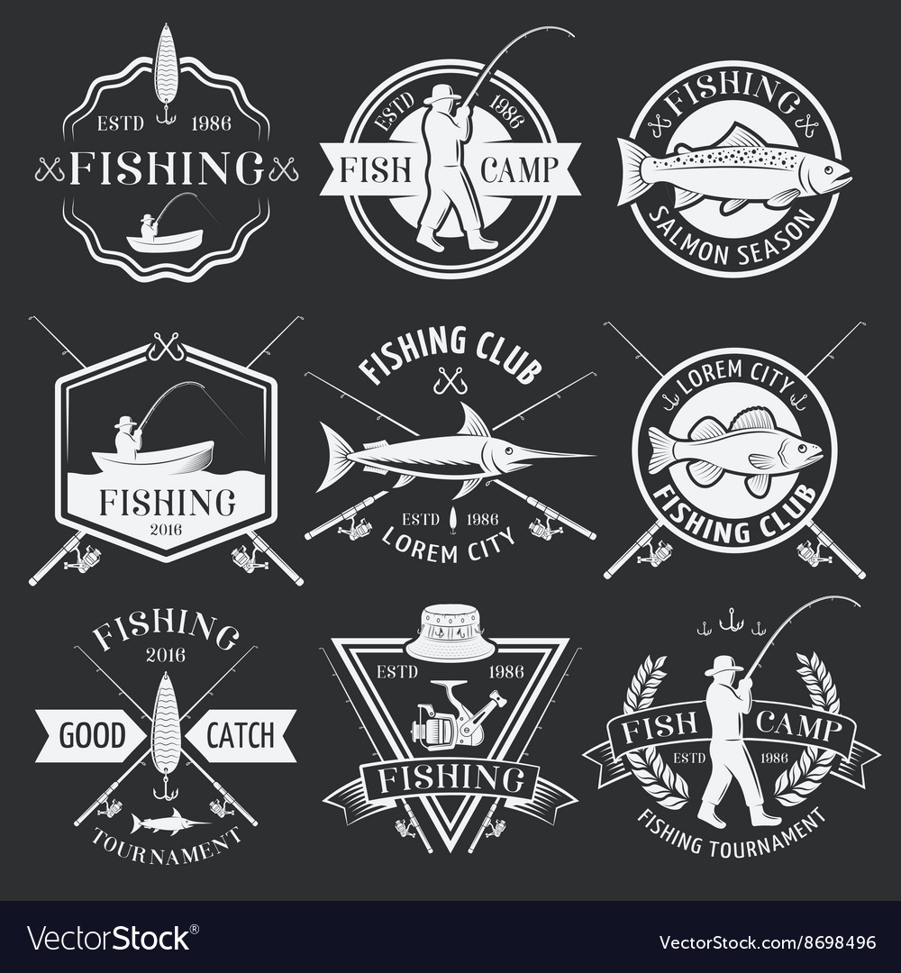 Fishing White Emblems On Black Background vector image