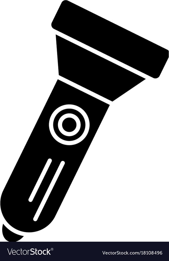 Flashlight icon black sign vector image