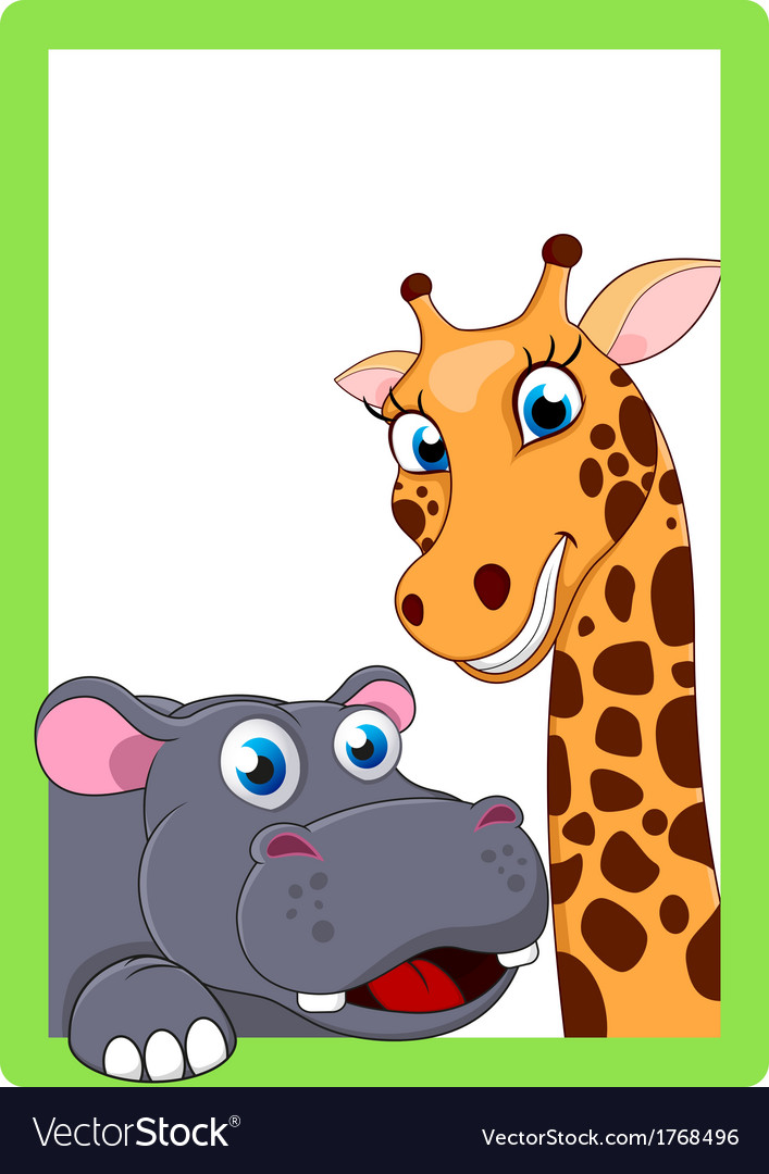 Giraffe And Hippo Cartoon On Frame Royalty Free Vector Image