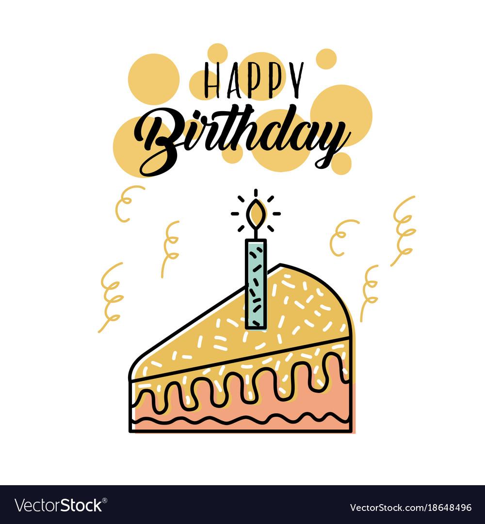 Happy Birthday Cake Candle Burning Celebration Vector Image