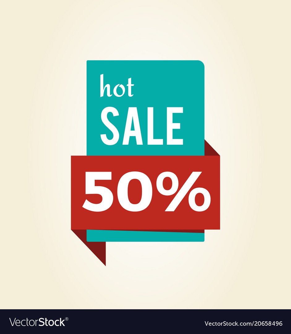 Hot sale -50 off promo label informing of discount
