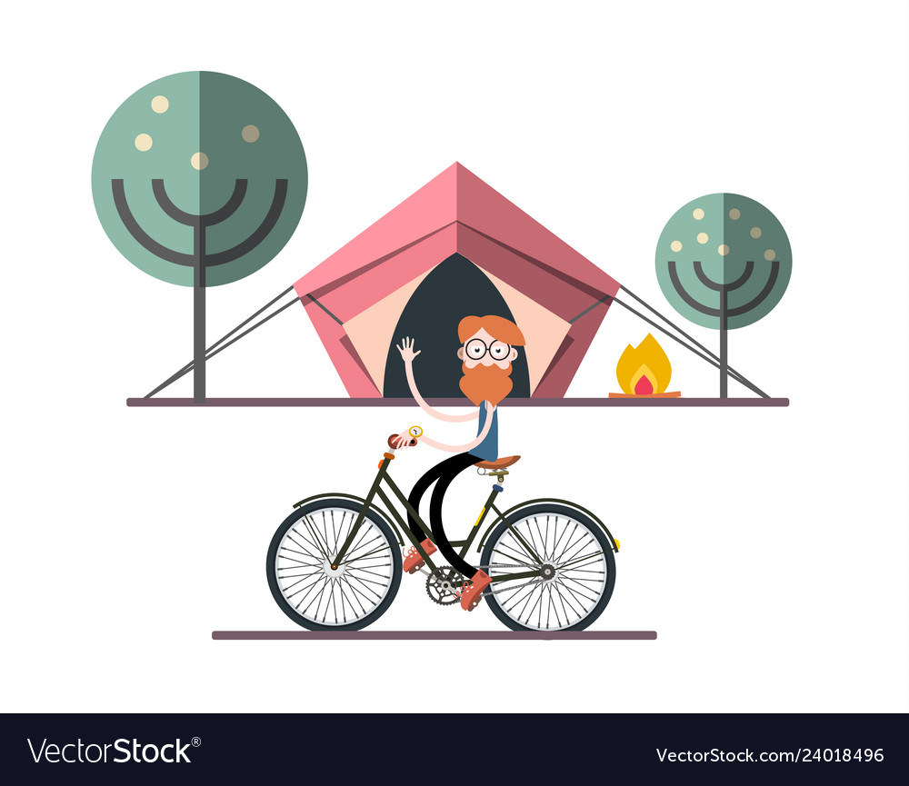 Man on bicycle with tent fire and trees on