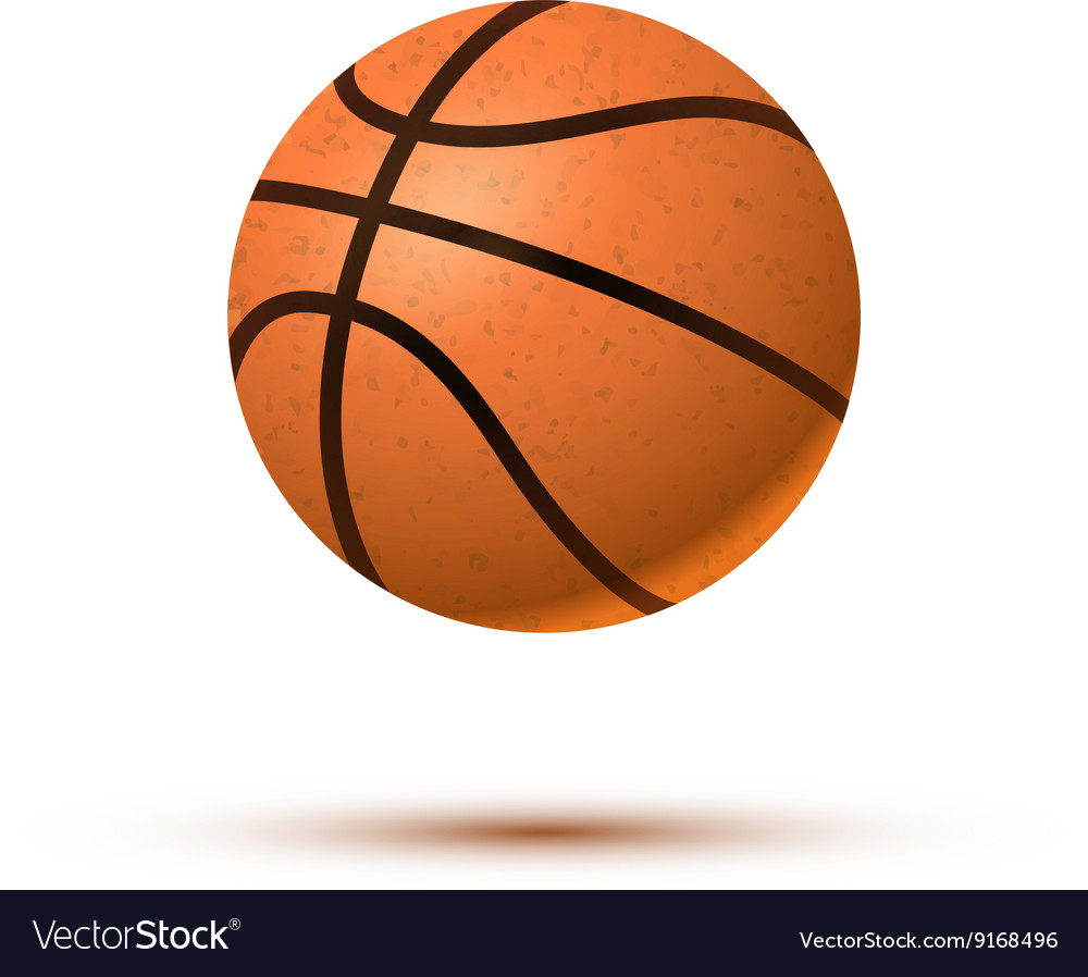 Realistic basketball ball with shadow on white