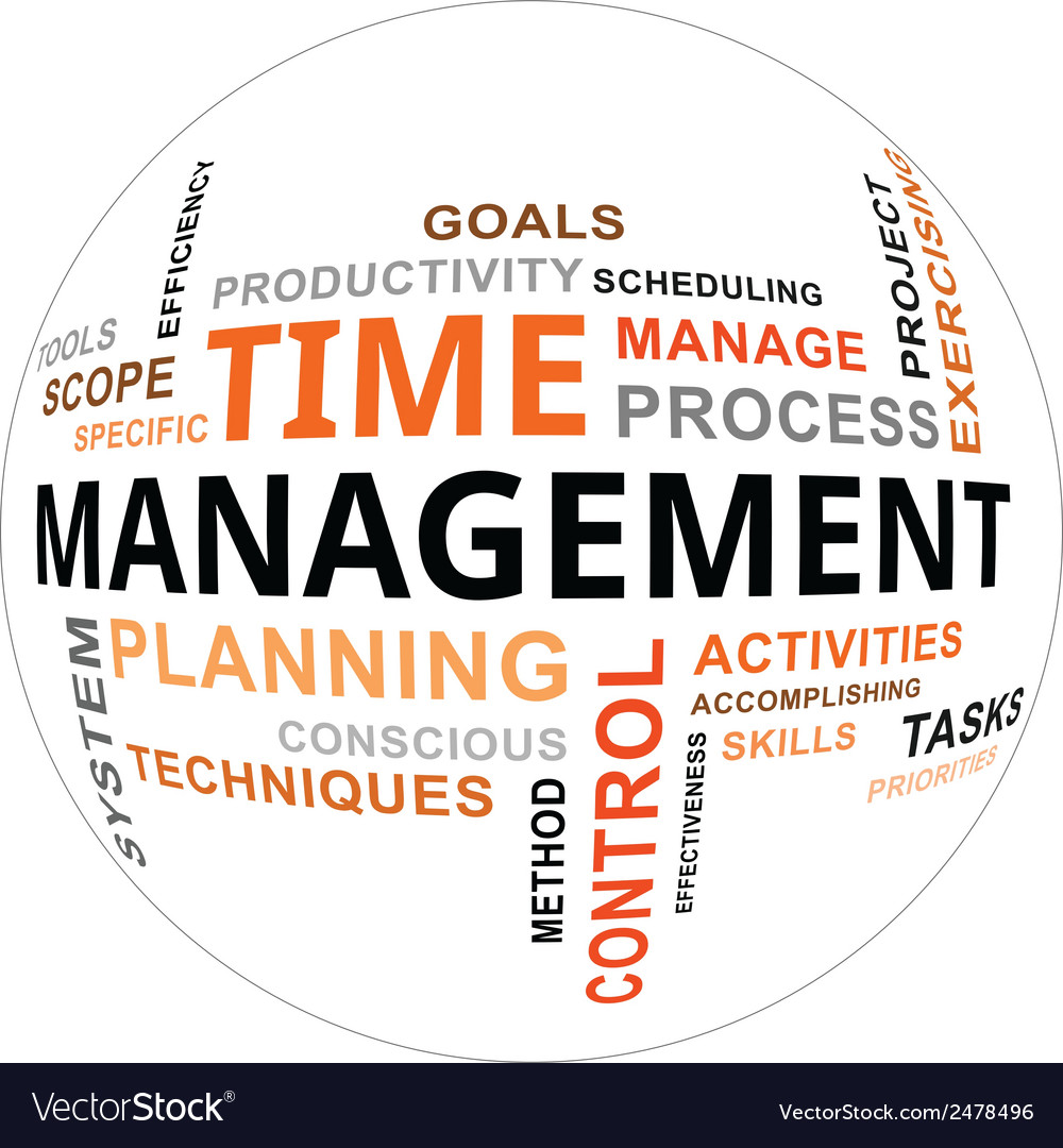 Word Cloud Time Management Royalty Free Vector Image