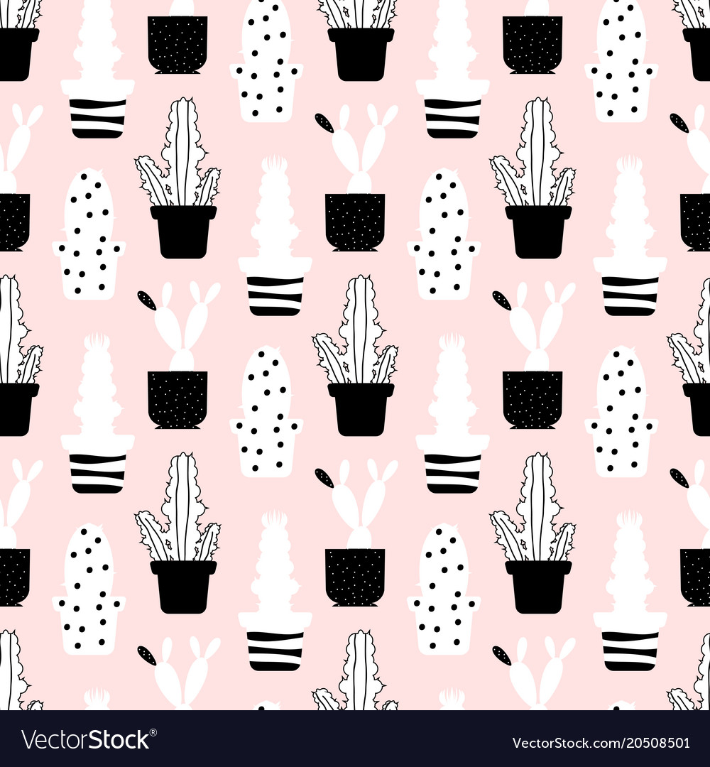 Abstract plants seamless pattern - style cactuses