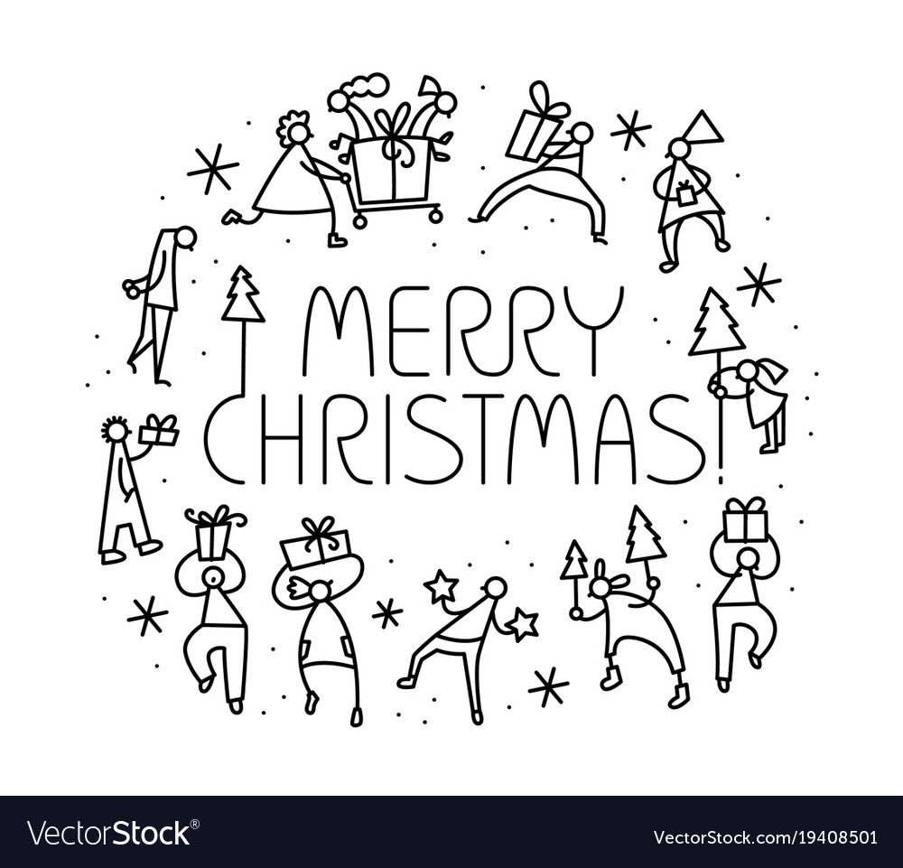 Christmas greeting card with people with gifts vector image m4hsunfo