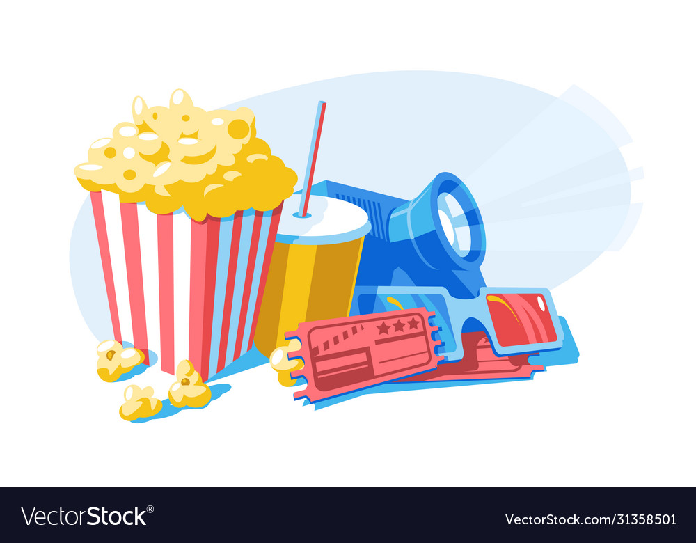 Composition with popcorn 3d glasses and tickets