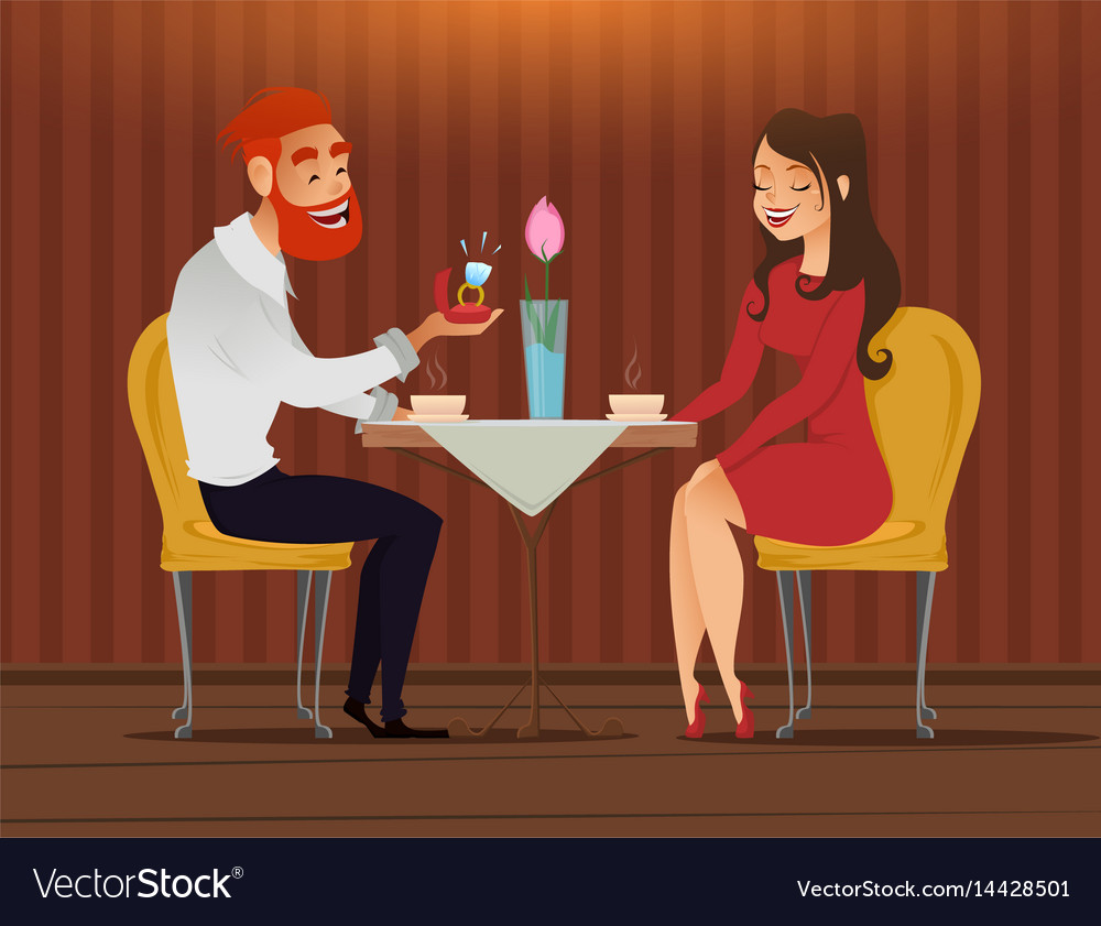 Couple in love romantic evening in restaurant or