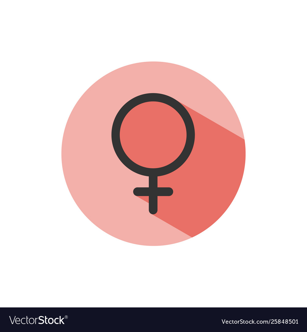 Female symbol with shade on a red circle science
