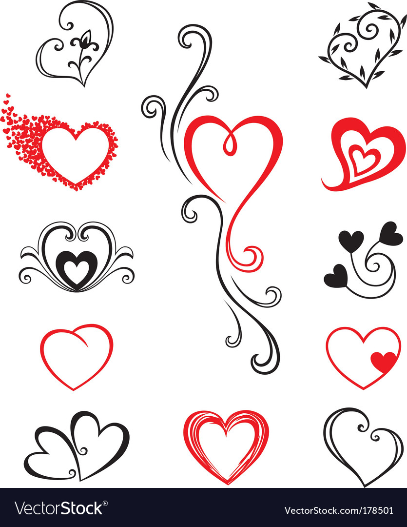 Heart Shaped Tattoo Designs on Heart Shaped Vector Decorative Elements For Design Or Tattoo