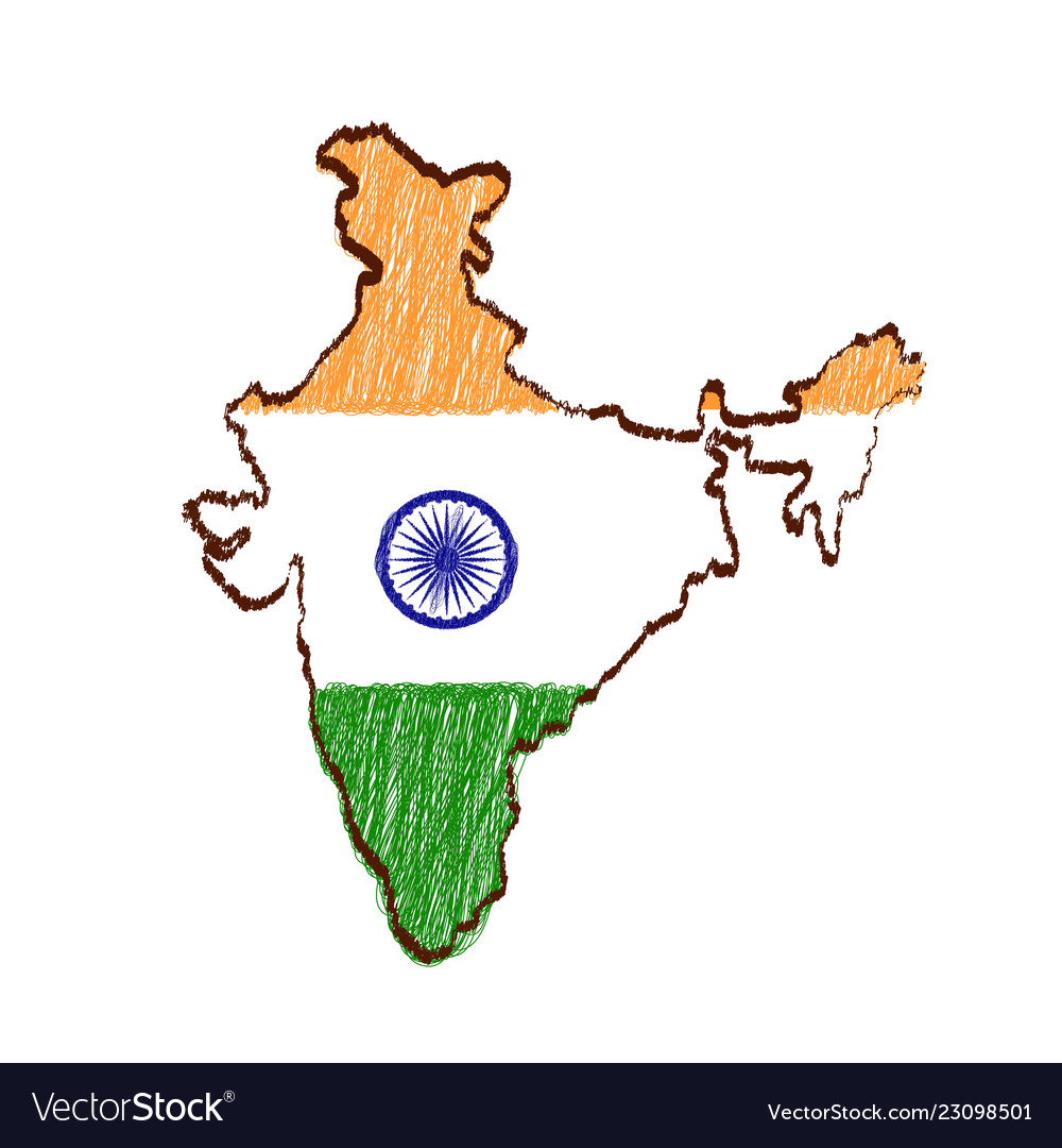 India Map Flag.India Map And Flag In Sketch Hand Drawn Royalty Free Vector