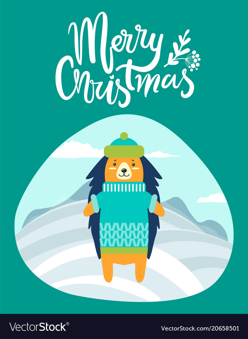 Merry Christmas Greeting Card With Hedgehog Winter