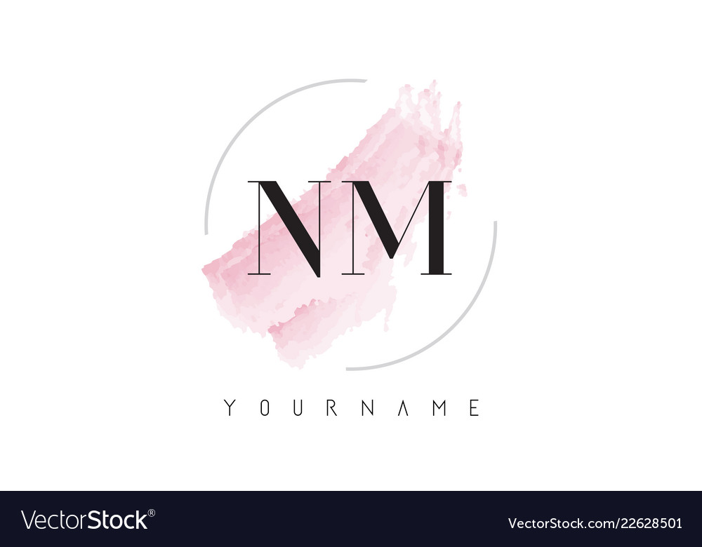 Nm N M Watercolor Letter Logo Design With Vector Image