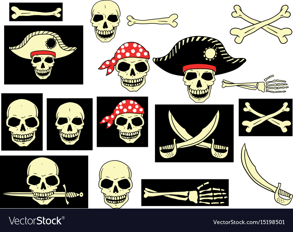 Pirates skull set vector image
