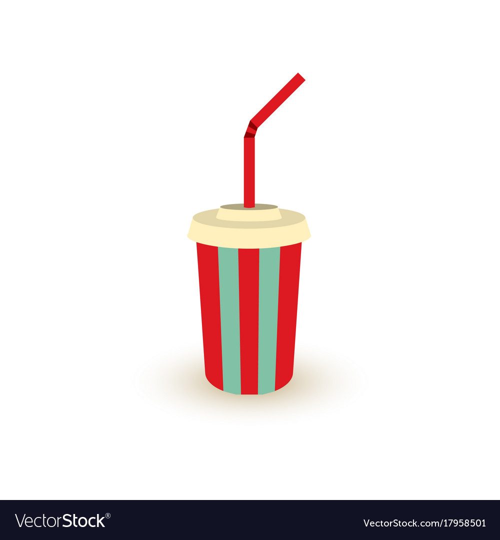 Plastic cup of soda with straw