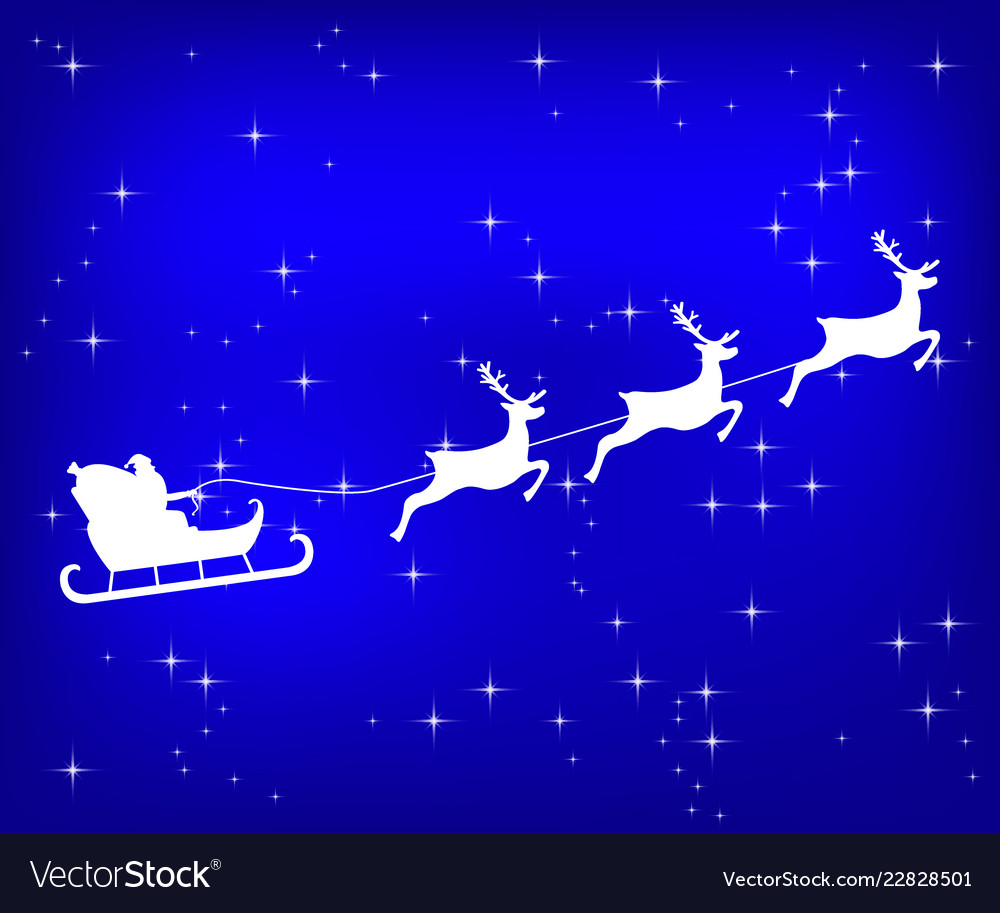 Santa claus riding reindeer on a blue shiny