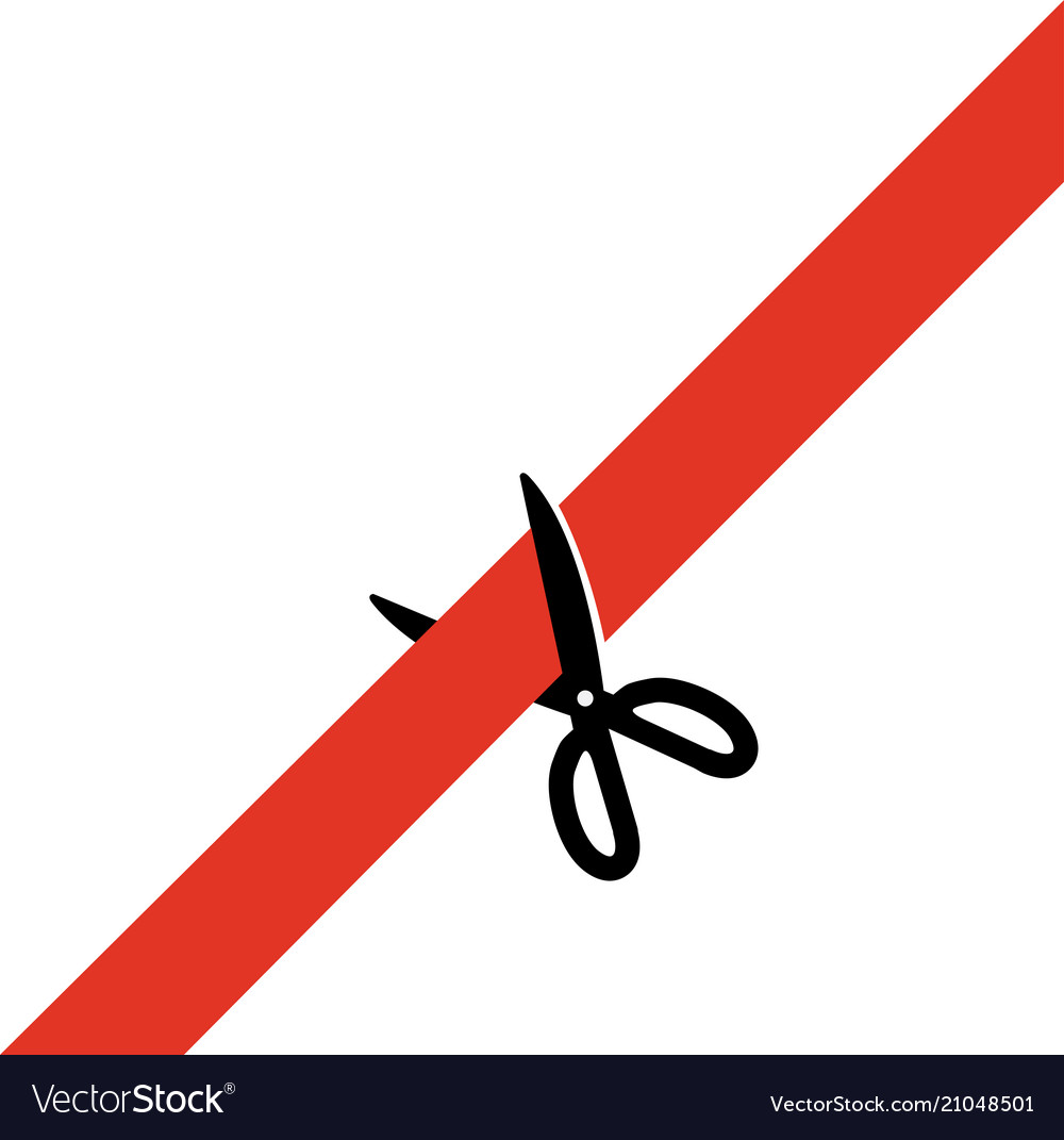 Scissors cut the red tape simply schematically Vector Image on