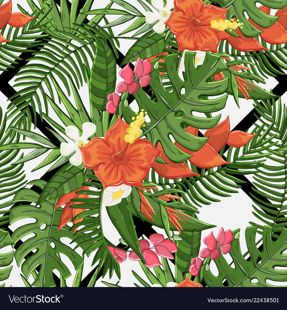 Seamless flowers pattern with tropical