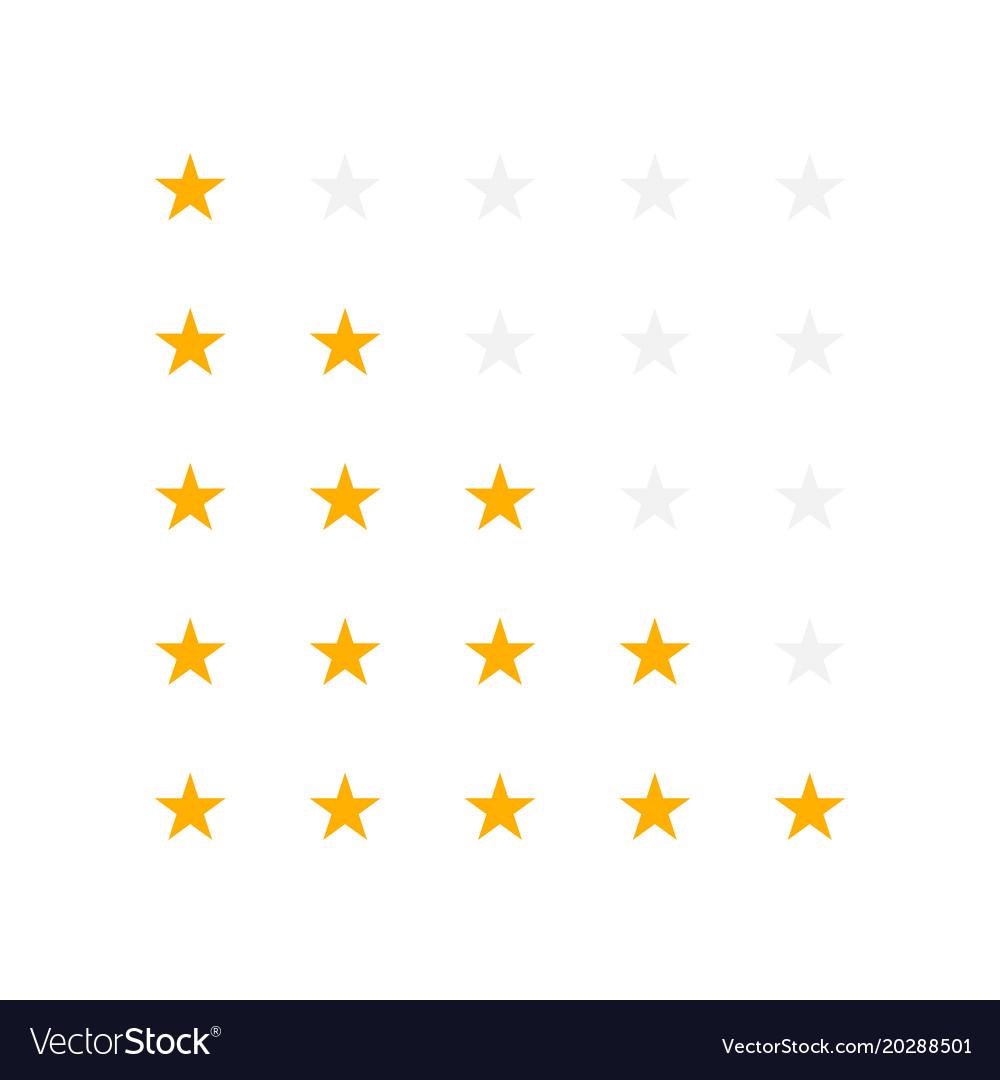 Set of yellow rating stars