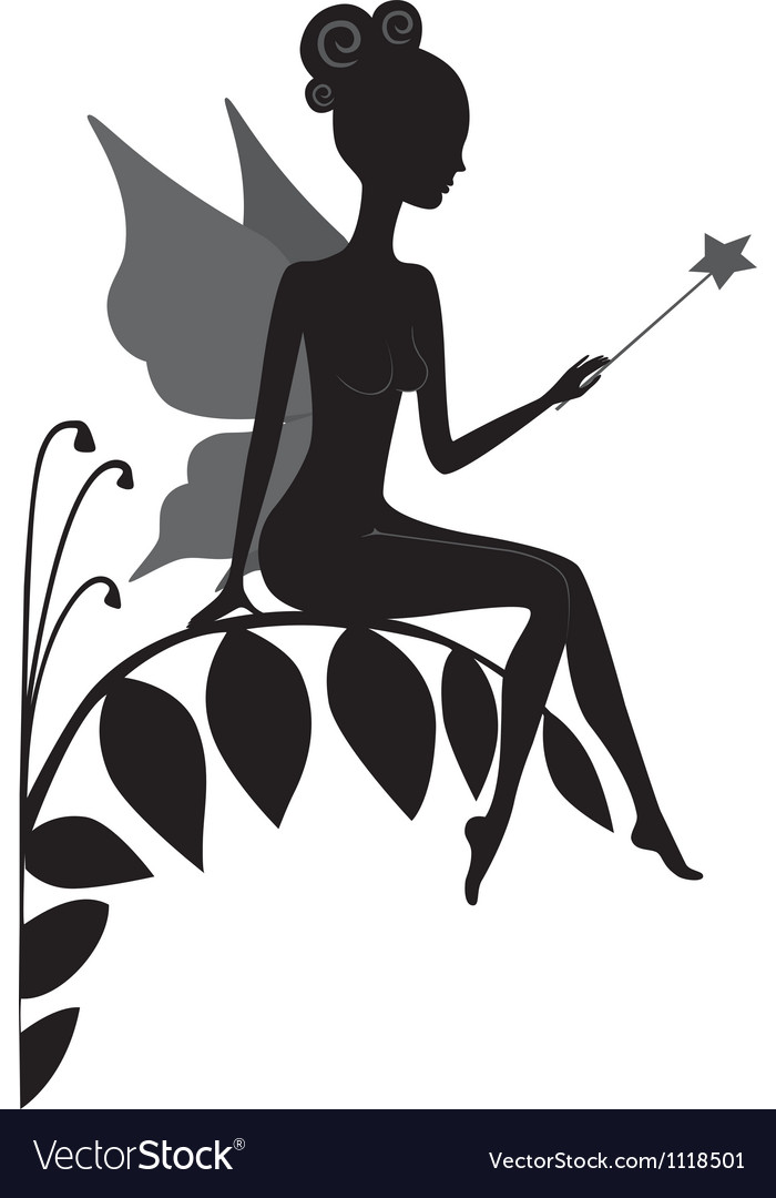 Silhouette of magic fairy vector image