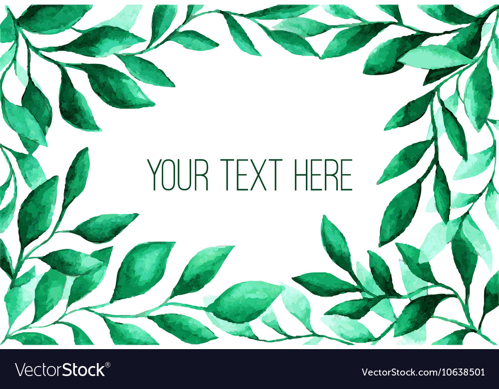 Watercolor green leaves frame for wedding and