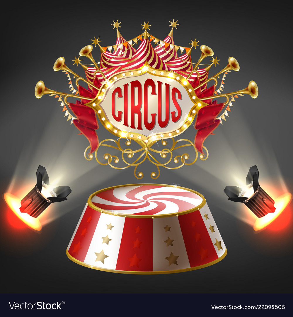 3d realistic circus stage illuminated