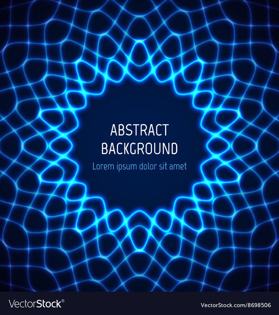 abstract blue circle neon border background with vector image