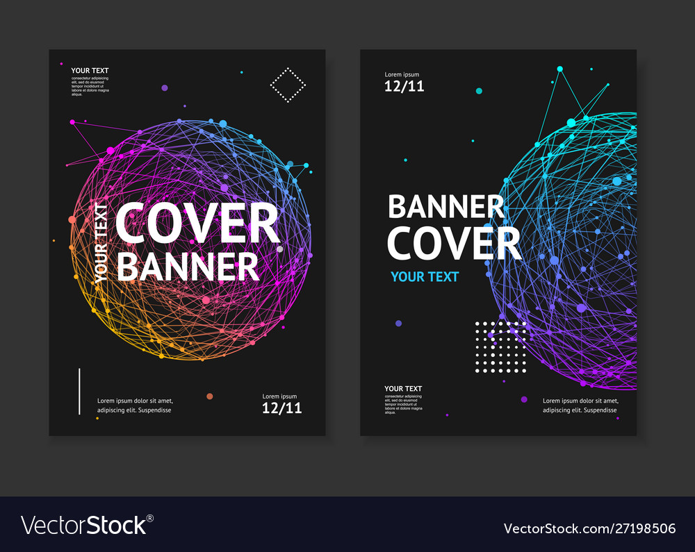 Cover banner card music placard set with abstract