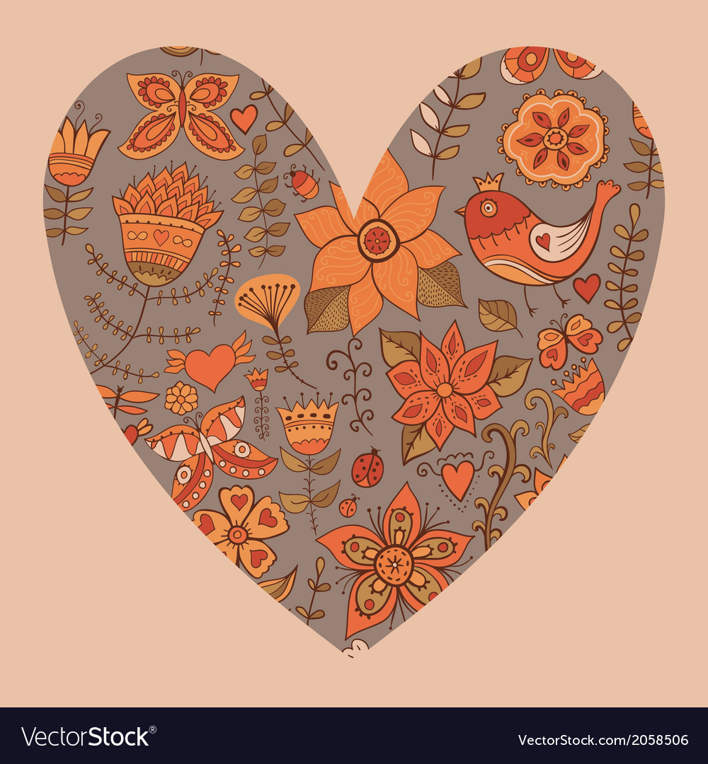 Floral heart heart made flowersdoodle heart vector