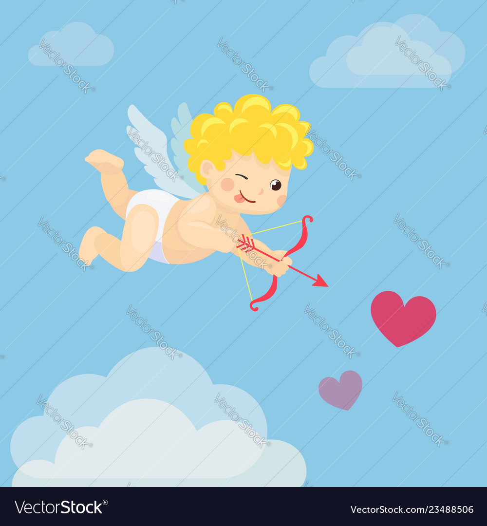 Flying cupid with bow and arrow in blue sky