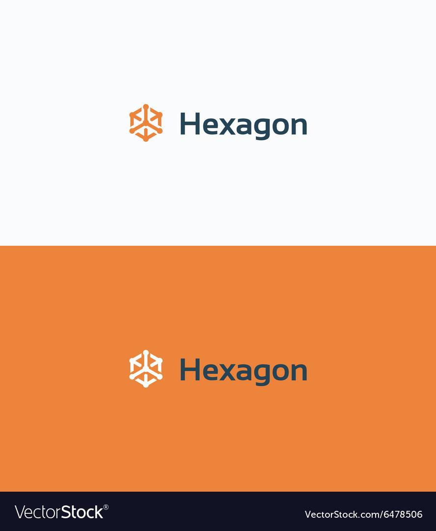 Hexagon 3d cube frame logo