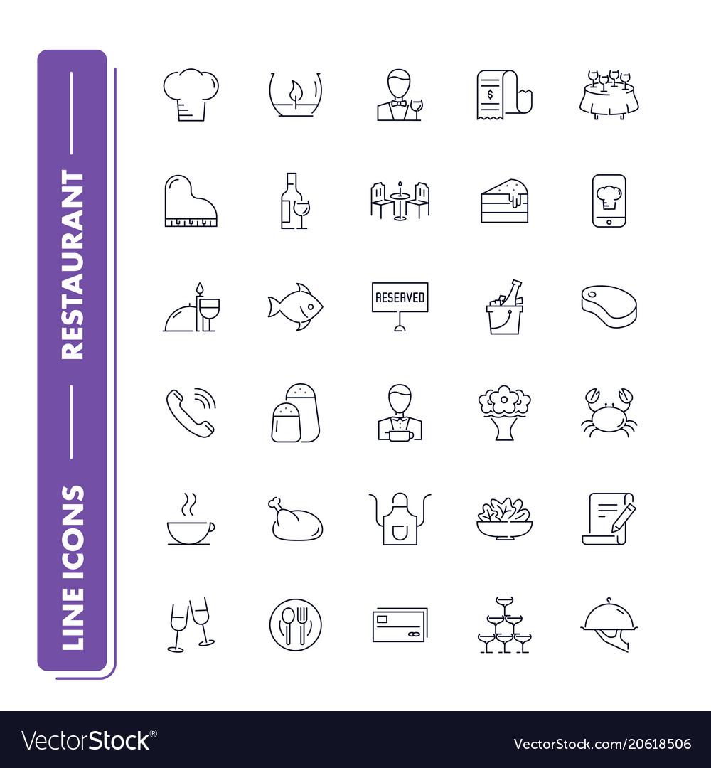 Line icons set restaurant