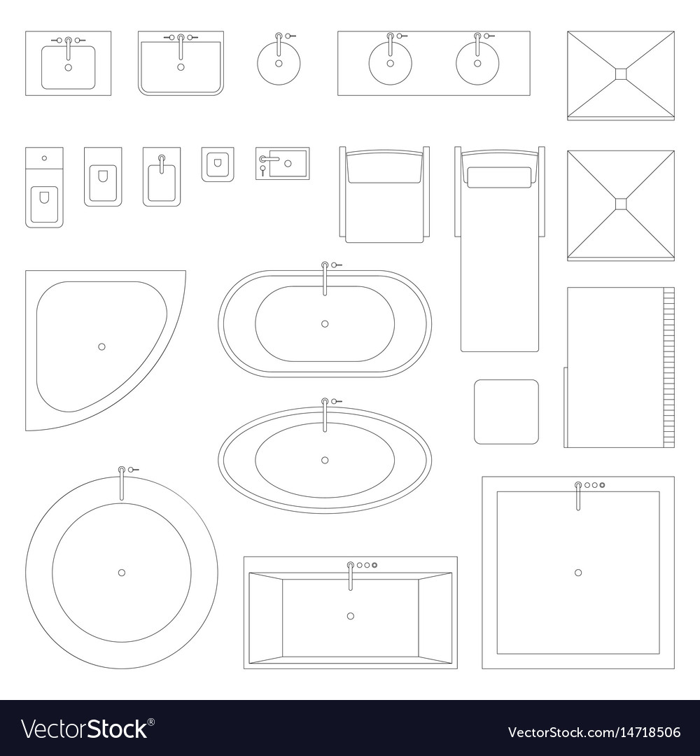 Line interior icons for bathroom vector image